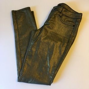 FOREVER21 Gold Bronze Coated Jeans EUC